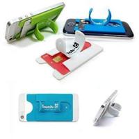 silikontabletten großhandel-Großhandel Universal Tragbare Touch C One Touch Silikon Ständer Handyhalter Für iPhone Samsung HTC LG Handys Tablets Mit Kartenhalter