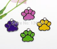 Wholesale Vintage Bead Craft - 50PCs Vintage Mixed Color Cats Dogs Enamel Paw Prints Charms Pendants 28*27mm Fit Bracelet Fashion Jewelry Making Craft DIY X263