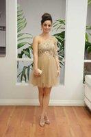 Wholesale One Shoulder Champagne Short Dress - One Shoulder Homecoming Dresses Champagne Short Prom Dresses Lace Appliques Illusion Bodice Party Gown