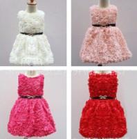 Wholesale Dress Belts Jumper - baby girl kids lace dress 3D flower floral tutu dress vintage princess jumper chiffon dress crochet embroidery vest belt pink waistband 5