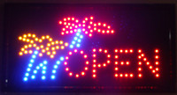 2016 LED Open Sign Animated LED Neon Light Shop Business Open Sign Flower par Flashing Boards Livraison gratuite