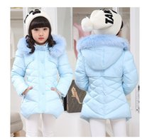 Wholesale High Quality Winter Children Coats - High-quality New 2015 Casual Children Parka Girls Winter Coat Medium Long Thick Faux Fur Hooded Winter Jacket For Girls PT386