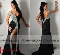 Wholesale Shining Mermaid Sweetheart Evening Dresses - 2016 Ritzee Originals Black Pageant Designs Prom Dresses Off-Shoulder Sexy Front Split Open Back Mermaid Evening Gown Shining Crystal Gowns