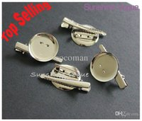 Wholesale Hair Clip Brooch Pin Backings - Wholesale-DIY brooch base, 30mm 100pcs lot, Dual Brooch Back Base With Clip and Safety Pin use for brooch and hair jewelry, CPAM free