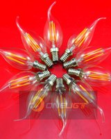 100Pcs 4W 220V E14 / B15D / B22 / E27 110V E12 / E17 C35 LED Filament Dimmable Candle Ampoules CRI 80 360 degrés Ampoule LED