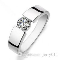 Wholesale Ring Men S Sterling - hot sell shiny zircon stone 925 sterling silver men`s rings man wedding finger ring jewelry gift