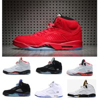 Wholesale Cheapest Blue Suede Shoes - CHEAPEST air retro 5 men Basketball Shoes Blue suede Black Metallic 5s red Fire Sport Shoes size US 7-13
