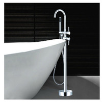 Wholesale Floor Mount Tub Filler Chrome - Wholesale And Retail Luxury Clawfoot Bathtub Faucet Floor Mounted Tub Filler Mixer Tap W  Hand Shower