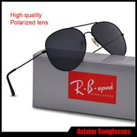 Wholesale Mirror Aviators Sunglasses - Luxury Brand Sunglasses For Men Women Designer Mirror Classic Aviator Polarized Sun Glasses UV400 Driving glasses with brown cases