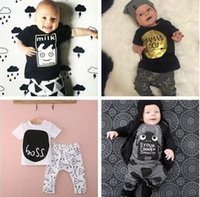 Wholesale Branded Sports Bottles - summer style Brand children clothing set kids clothes boys & girls clothes baby sport suits T-shirt hoodies+pant more style hight quality f