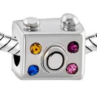 Wholesale imitation cameras for sale - Group buy 10 per Rhodium Plating Multi Color Crystal Camera European Charm Bead For Pandora Bracelet