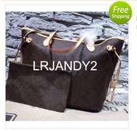 Wholesale Satchel Hobo Bags - Genuine Leather Brand new Top quality women shoulder bags Large tote shopping handbag tote satchel Retro purse(#40996)3 color 2 Size pick
