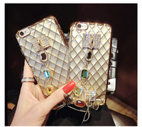 Wholesale Luxury Cell Phone Cases Diamonds - For iPhone 6s Plus 7 8 plus Phone Cover Luxury Diamond Glitter Cases TPU Electroplate Cell Phone Cases