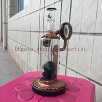 "Wholesale Oil Plate - new glass bong 8.8""inches copper plating water pipe Black head prec oil rigs 14.5 mm joint dome and nail"