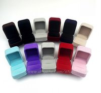 Wholesale Cases For Wedding Ring - Velvet Ring Box Multi colors Fashion Jewlery Box for discount charm Girl women cheap Luxury wedding jewellery Rings gifts Box Case