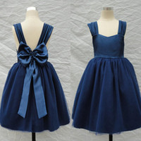 Wholesale Gown Designs For Kids - 2015 Navy Blue Flower Girl Dresses A Line Straps Backless Big Bow Tea Length Kids Gown for Wedding halloween costumes gowns new design 2016