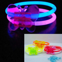 Wholesale Glow Sticks Rave Wholesale - Glow Stick Butterfly Bangle Bracelet Glow In The Dark Rave Party