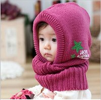 Wholesale Crocheted Baby Shawls - new kids baby fashion Wool hat girl boy Wuxing Pattern Shawl cap Set head cap scarf children hat