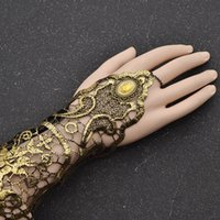 Wholesale snake woman costume online - fashion lychee Sexy Women Ladies Steampunk Goth Gold Lace Floral Finger Bracelet Wedding Party Costume Jewelry