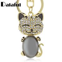 porte-clés pour sacs à main femme achat en gros de-beijia sourire chat opales cristal émail sac à main porte-clés porte-clés pour voiture sac à main boucle porte-clés titulaire pour les femmes K169