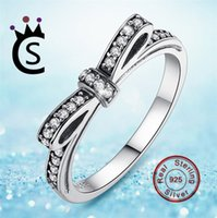 Wholesale Wholesale Ties China - Authentic 925 sterling silver jewelry Ring bow-tie Ring With zircon For Women Wedding Party Gift Fine Jewelry VS pandora