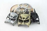 Wholesale Hanging Mask - 3 Colors Batman Mask The Dark Knight Mask Metal Keychain ring Pendant Hanging 12 Pcs lot
