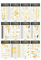 Wholesale metallic tattoo jewelry resale online - Temporary Tattoo Sexy Non Toxic Waterproof Flash Tattoos Sticker New Metallic Golden Silver Body Art Tattoo Jewelry x14cm Styles