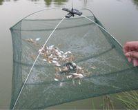 Wholesale Nets Shrimp - 60*60cm Foldable Fishing Net Shrimp Crab Trap Nylon Fishing Network Cast Net Dip Mesh Crawdad Minnow Bait Trap Fishing Nets