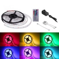 Wholesale Led Color Changing Strip - Super Brigh LED Strips 16.4ft 5M Waterproof Flexible 300leds Color Changing RGB SMD3528 LED Tape Lamp Strips +44Key Remote+12V Power Supply