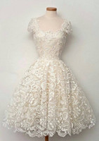 Wholesale event gowns - Luxury A-Line Lace Wedding Dresses Formal Square Off Shoulder Ruched Applique Custom Made Beach Vintage Events Women Bridal Gowns