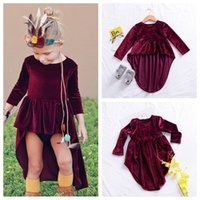 Velluto Baby Abiti Boutique Neonate Vestiti in vendita Natale Party coattail Dress Holiday Edition Kids Clothing Design unico