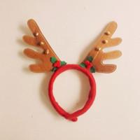 Wholesale Wholesale Antler Headbands - Christmas Headband Children Antlers Head Hoop With Small Bells Cute Elk Christmas Decorations Cartoon Animal wen4805