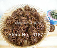 Wholesale Wicker Balls Wholesale - Free Shipping Wholesale 5CM 20pcs Natural Color Decoration Woven Wicker Ball Rattan Ball craft 024020