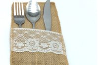 "Wholesale Table Cutlery - Vintage 4""x8"" Hessian Burlap Lace Wedding Tableware Pouch Cutlery Holder Decorations Favor Table Decoration & Accessories"