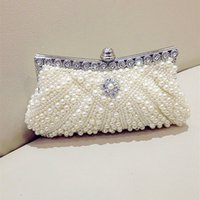 Wholesale Cheap Purses Rhinestones - 2016 Imitation Pearls Bridal Hand Bags Luxury Rhinestones Women Special Bridal Purse In Stock Wedding Accessories Gown Cheap Price Fashion