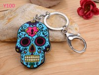 Wholesale Skull Phone Accessories - Fashion Accessories Lobster Clasp Silicon Key Rings phone chain Skull toy for women men kids free shipping Party supplies 100