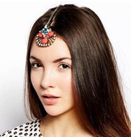 Wholesale Dangle Hairpin - New Fashion Hair Jewelry Gold Design Coral red Drop Dangle HairPin Hair Clip F-076