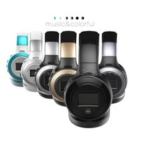 Wholesale Iphone Sd Slot - Hot sell ZEALOT B19 LCD Display HiFi bass Wireless Bluetooth Headphone for iPhone 7 samung xiaomi earphone With FM Radio Micro-SD Slot