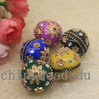 Wholesale Round Acrylic Beads For Bracelets - Retail 10pcs 22MM loose necklace bracelet crystal flower studded charms handmade large acrylic beads for jewelry making