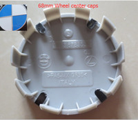Wholesale blue centre - by DHL 100pcs lot ALLOY 68mm WHEEL CENTRE CAPS blue   white OEM STYLE 10 clips 10pins made in Italy