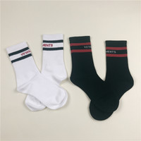 Wholesale Wholesale Long White Socks - Wholesale 2017 Vetements Men Women Striped Socks Hiphop Striped Long Socks Mens Black White 2 Color Vetements Socks