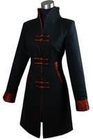 tops longos tradicionais venda por atacado-História de Xangai nova Venda de Qualidade Superior de Inverno Longo Casaco Chinês Casaco De Cashmere Das Mulheres roupas tradicionais chinesas 2 cor