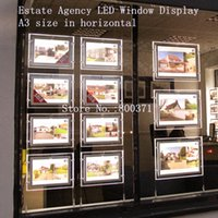 Wholesale Real Estates - A3 Double Sided Real Estate Agent Window Display Crystal Frame Led Signs Light Boxes