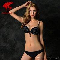 Wholesale Black Diamond Push - 2016 Hot Sale Sexy Triangle Bikini Push Up Swimwear Women Elegant Brazilian Biquini Retro Bowknot Swimsuit For Lady Sewing Diamond Beachwear