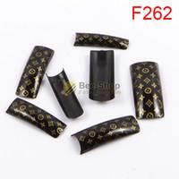 Wholesale Black French Nail Tips - 100pcs Fashion patterns black body design half cover french nail art tips acrylic half false nails art fake nail tips F262