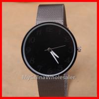ingrosso orologi in metallo nero per le donne-Orologi moda Nero Metal Iron Net Web Mesh Band Moda semplice orologio da polso al quarzo Ore Orologi da donna unisex per uomo e donna