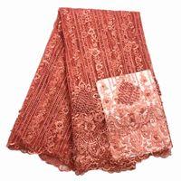 sehr gute kleider großhandel-Sehr gute Qualität Applique Design Spitze Stoff Perlen Tüll Französisch Spitze mit 3D Blumen große Party Kleid Spitze