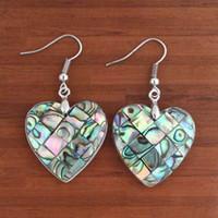 Wholesale Beautiful Shell Jewelry Wholesale - Beautiful Women Jewelry Natural Abalone Shell Dangle Earrings Charm European Fashion Jewelry 1501# Heart 10pairs lot