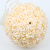 "Wholesale Satin Kissing Balls - MIC 5"" or 8""Champagne Romantic Silk Rose Flower Kissing Ball Wedding flowers Decoration For Flower Girl Wedding Bouquet"