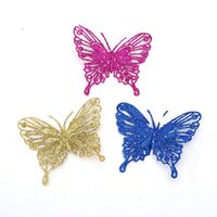 Wholesale Butterfly Cutout - Wholesale-christmas decoration natal navidad craft supplies 11x9cm sticky pink sequined cutout Butterfly color optional
